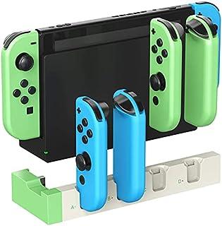TwiHill Dock de carregamento para Nintendo Switch Joy-con, dock para carregador Quad USB com indicadores LED, conjunto de ...