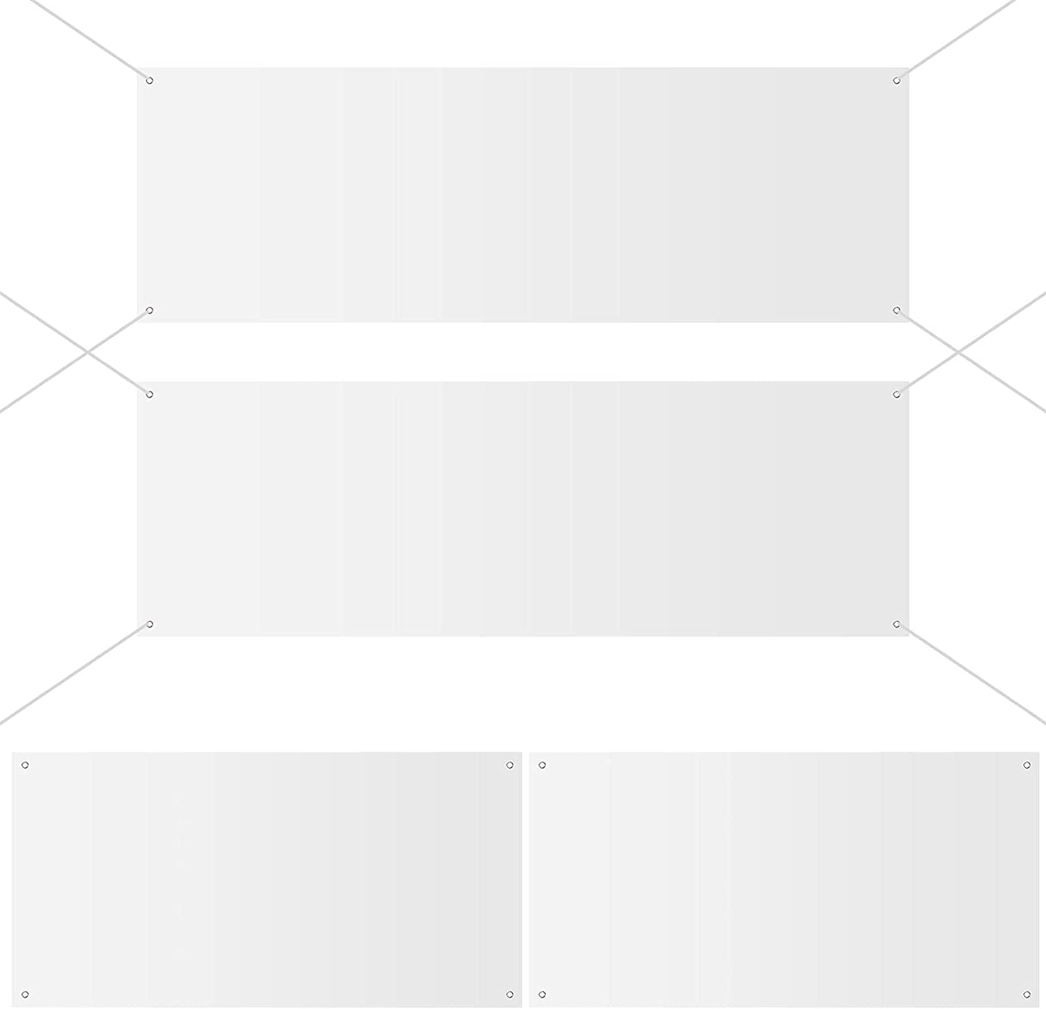 4 Pieces Large Blank Banner White Wall Banner Polyester Oxford Cloth Banner Outdoor Hanging Banner DIY Banner Signs with Hanging Rope for Indoor Outdoor Decor (2 x 4 Feet) (2 x 4 Feet, 2 x 6 Feet)