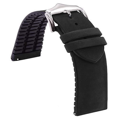 Correa de reloj de liberación rápida de 20 mm Smartwatch de cuero negro con correa de reloj de goma