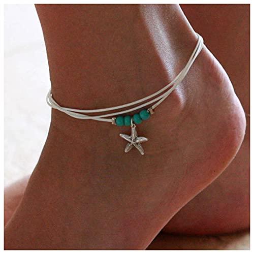 Sttiafay Pulsera de tobillo trenzada de cuerda con diseño de estrella de mar de mar de estilo bohemio, hecha a mano, con cadena de pie de playa, para mujeres y niñas