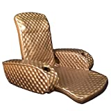 TRC Recreation Folding Baja Floating Swimming Pool Portable Water Lounger Comfortable Recliner Chair with 2 Armrest Cup Holders, Bronze