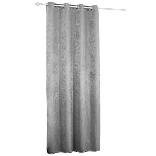 WOLTU Rideau en 100% Polyester Effet Velours 135x225cm Tissu épais Protection visuelle occultant Déco Maison Argent Gris VH5884sg