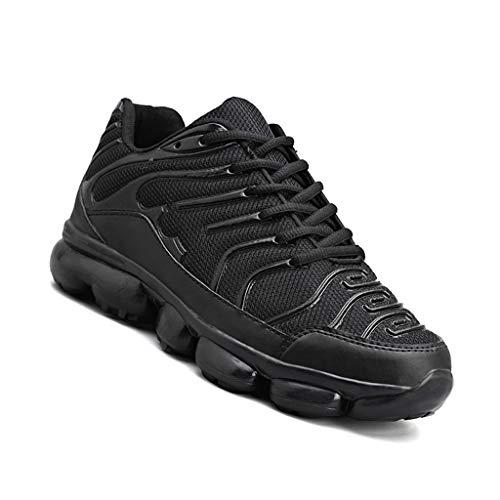 WggWy Zapatos casuales de primavera otoño para hombre, zapatos deportivos de fondo grueso, ligeros, antideslizantes, resistentes al desgaste, transpirables, redondos, negros, 44