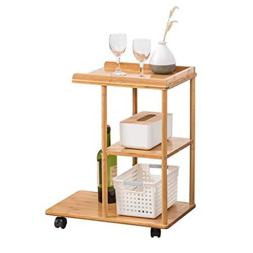 HLLZRY Bijzettafel, salontafel, houten serie, barwagen, woonkamer, bijzettafel van hout, salontafel op wielen met 3 legplanken