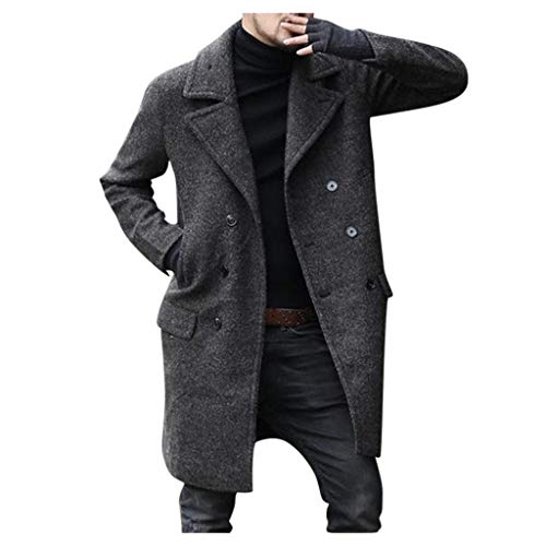 Azruma Herren Warm Wollmantel Kurzmantel Winter Jacke Business Slim Fit Herrenmantel Zweireihig Wolle Mantel Revers Schnalle Cardigan Mantel Jacken