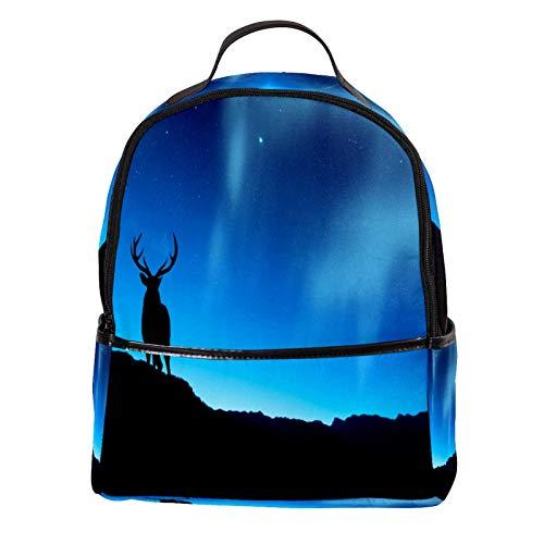 KAMEARI Sac à dos pour l'école Cerf Animal Fonds d'écran Décontracté Sac à dos pour Voyage avec poches latérales Bouteille