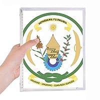ルワンダはアフリカの国家エンブレム 硬質プラスチックルーズリーフノートノート