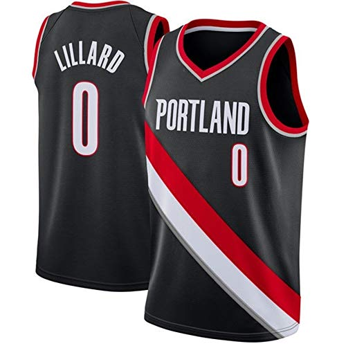 ZeYuKeJi Hombres Camiseta de NBA-Trail Blazers # 0 Lillard Malla sin Mangas Bordado Baloncesto Jersey Camiseta (Color : Black Red Edge, Size : L)