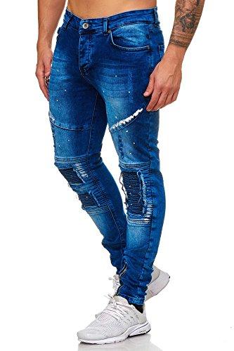 Code47 Röhrenjeans Skinny Jeans Herren Blau Biker KC Chino Hose Blau W29 L32