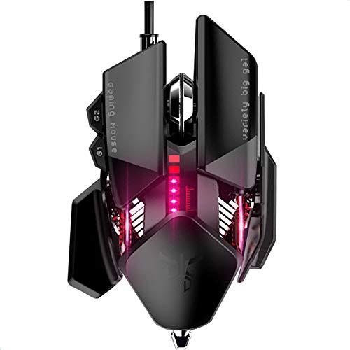 FGFGN mechanische desktopmuis van titanium, water- en stofdicht, voor games, macro programmering, watergekoelde verlichting, geschikt voor sportgames, black, Kleur:
