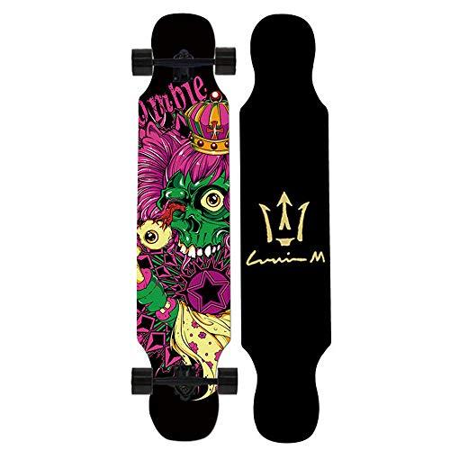 Skateboards Dancer Longboard Länge 107 cm ABEC 11 Hochgeschwindigkeitslager 4 Räder Longboards mit Schwalbenschwanz Unisex Adult, Anfänger Teen Kids Profis