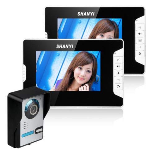 Aohuada 7 Zoll Video Türsprechanlage mit Infrarot und Nachtsicht, Zwei Wege Audio Visuelle Gegensprechanlage 2x Monitor...