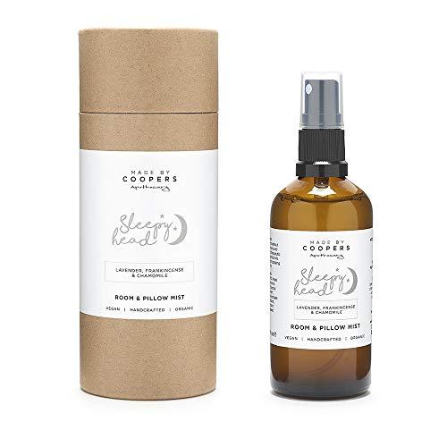 Lavanda, mirra, manzanilla relajante almohada Mist con aceites esenciales by Made By Coopers–Remedio natural para dormir–relajante Natural habitación y lino Spray en 100ml botella de cristal