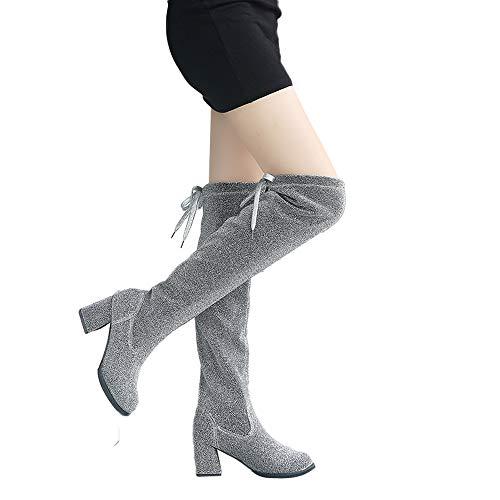 Sockenstiefel Damen High Heels Hohe Stiefel Glitzer Stretch Langscaftstiefel Winterstiefel Frauen Lang Boots Elegante Schuhe Winter Bequem Warm Damenschuhe Celucke (Silber, 35)