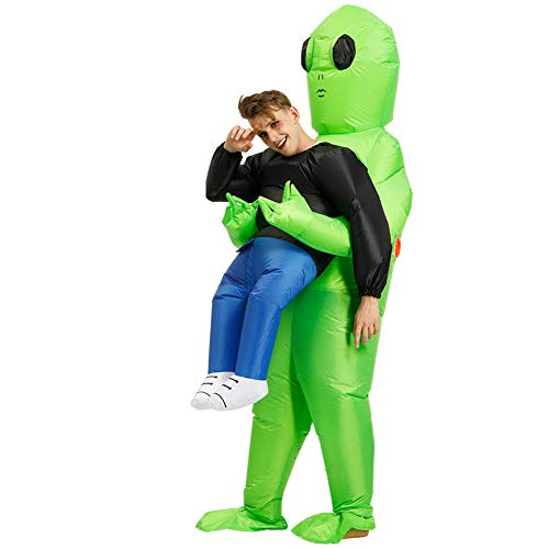 Alaojie Green Alien Carrying Human Costume Inflatable Funny Blow Up Suit Cosplay for Party