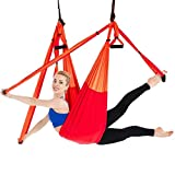 GAO-bo Aerial Yoga Swing Set, Aerial Yoga Hammock Trapeze, Ultra Strong Antigravity Yoga Hammock/Sling/Inversion Tool para Mejorar Las inversiones de Yoga (Color : Gradient Red)
