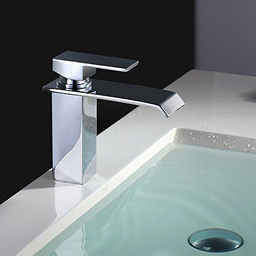 Homelody Chrom Wasserfall Wasserhahn bad Waschbeckenarmatur Waschtischarmatur Einhebelmischer Waschtischbatterie Badarmatur Armatur für Bad - 6