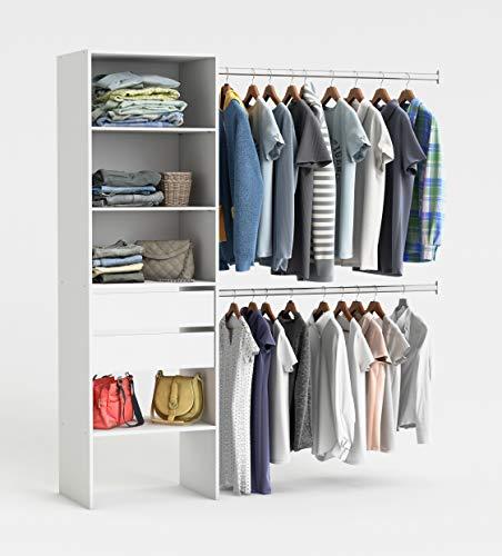 habeig RIESIGER Kleiderschrank #5077 begehbar offen Garderobe Schrank Regal Schublade (#479288 Weiß)