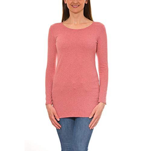 Alkato Damen Langarm Longshirt Tunika Basic Shirt, Farbe: Koralle Meliert, Größe: L