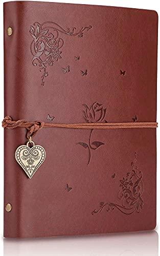 SEEALLDE Cuaderno de piel A5 páginas en blanco diario cuaderno mapamundi diario...
