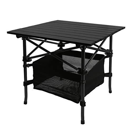 YOLER キャンプロールテーブル メッシュラック付 静止耐荷重80kg ケース付 折りたたみ アウトドア用 YR-AT055/ブラック