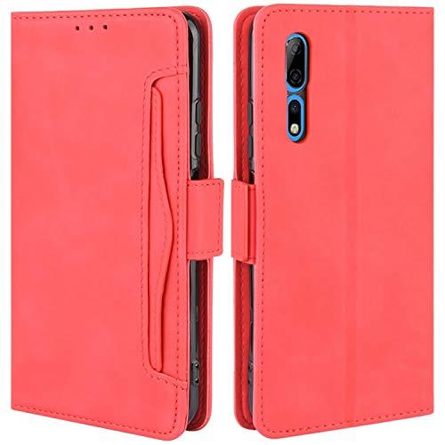 HualuBro Handyhülle für ZTE Axon 10 Pro Hülle Leder, Flip Hülle Cover Stoßfest Klapphülle Handytasche Schutzhülle für ZTE Axon 10 Pro 5G Tasche (Rot)