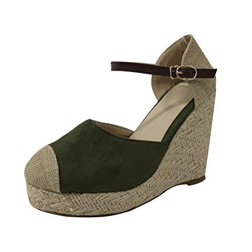 Minetom Damen Sommer Espadrille Wedge Sandalen Mode Schnalle Wildleder Plateau Schuhe C Grün EU 43