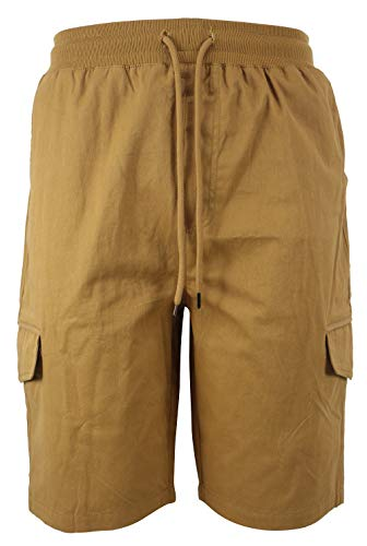 Men Cotton Cargo Shorts Elastic Waist Drawstring Relaxed Fit Multi Pockets Shorts Khaki Size 32