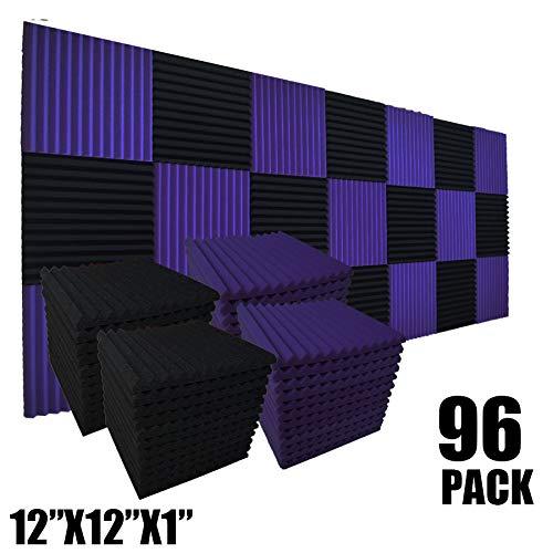 Schalldämmende Wandfliesen für Akustikschaum, 30,5 x 30,5 x 2,5 cm, Schwarz/Violett, 96 Stück