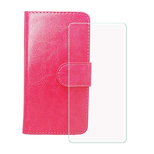 YZKJ Funda para Realme V15 RMX3092 (6.4') + Cristal Templado Protector de Pantalla,Cover Flip Case PU Cuero Caso Función de Soporte Billetera Tapa Carcasa - Rosa roja