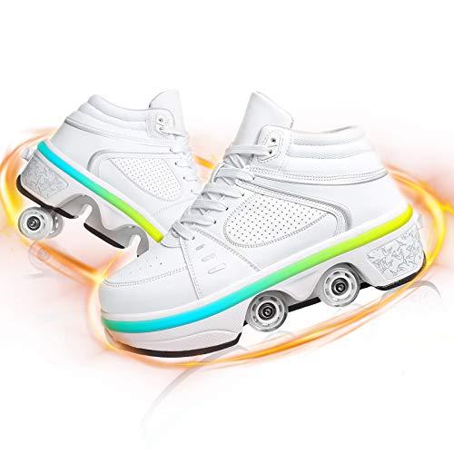 JZIYH Doble Fila USB Recargable Ajustable Patines De Ruedas Deformación LED Luminoso Zapatos De Ruedas para Niños Casual Deportes Zapatos