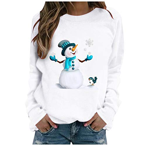 Holywim Women Christmas Tops,Fashion Casual Tunic Print Floarl Long-Sleeved Sweatshirt Casual Blouse Pullover White