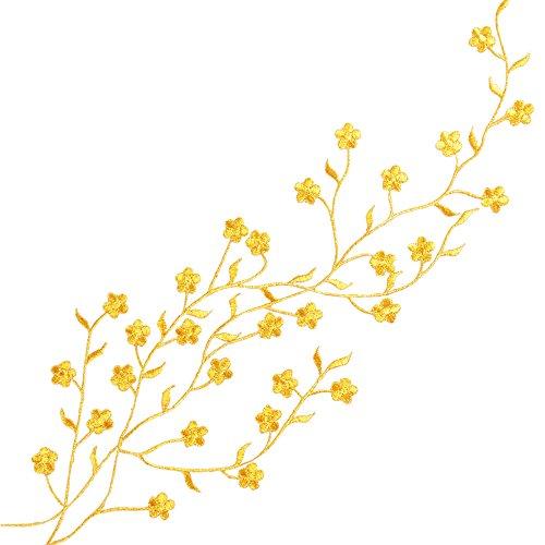 Parches Pegatinas Apliques Bordados Termoadhesivos de Flor de Oro para Decoración de Ropa