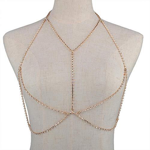 Jovono Crystal Body Chain Bikini Harness Körperschmuck Kette Strass Taille Kette für Frauen und Mädchen (Gold)