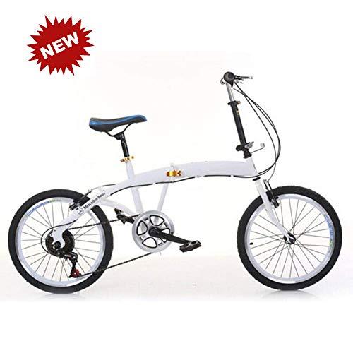 QINYUP De 20 Pulgadas Bicicleta Plegable 7 Bicicletas de Velocidad Delantero y Trasero Doble V Sistema de Frenos para el Trabajo Rush, IR a la Escuela o Salir a Jugar