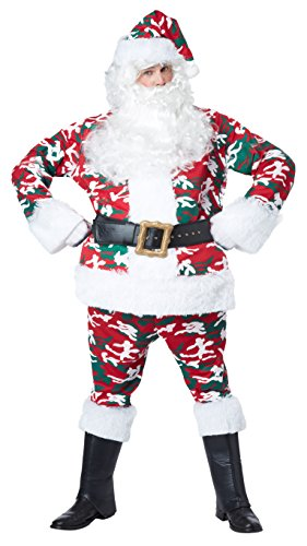 California Costumes Men's Camo Santa Suit Costume, Red/White/Green, Large/X-Large
