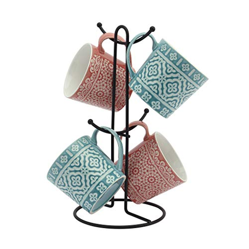 Tabletops Gallery Avenue Mug Collection- Ceramic Stoneware Microwave Dishwasher Safe Coffee Tea Colorful Mug Tree Set, 5 Piece Embossed Bohemian 16 Ounce Mug and Metal Rack Set (Turquoise and Coral)