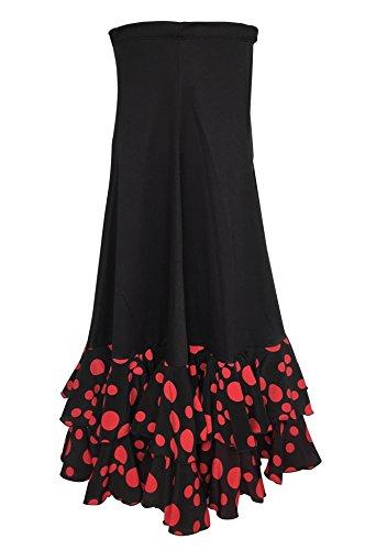 La Señorita Falda Flamenco Danza Sévillane Mujer Lujo Negro Puntos Rojo con Volantes (Talla XL)
