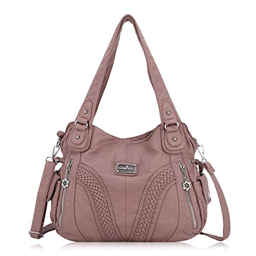Angelkiss Women Top Handle Satchel Handbags Shoulder Bag Messenger Tote Washed Leather Purses Bag (Pink) …