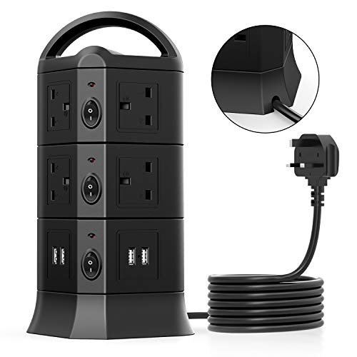 10 Way Outlets Tower Power Strip...
