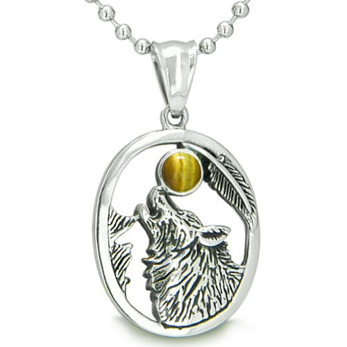 BestAmulets Amulet Courage Howling Wolf Tiger Eye Moon Pendant 18 Inch...