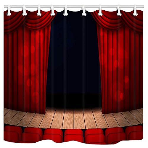/N Cinema Stage Cortina roja en el Escenario con Silla de Cortina de baño de Tela de poliéster con