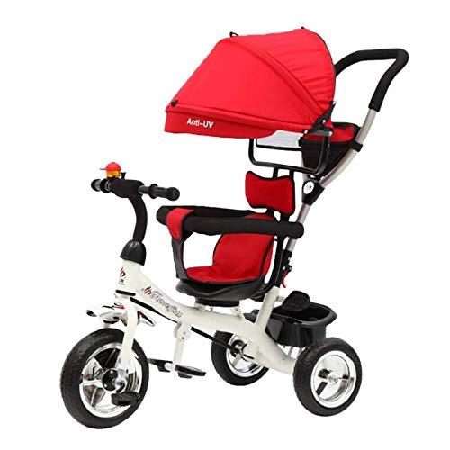 ALYHYB 2 en 1 Triciclo para bebés, Cochecito de niño, Triciclo de Pedal de niños Ligero, Triciclo de Empuje con Dosel extraíble Ajustable Durante 18 Meses a 5 años huangcui