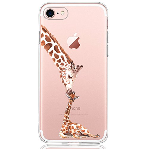 Oveo® Coque iPhone 7 / 8, Série Dolce Vita Housse Etui Silicone Transparente pour Fille/Femme, avec Motif Girafe d'amour inconditionnel