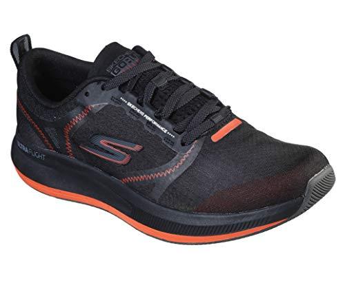 Skechers Go Run Pulse, Sneaker Uomo, Nero (Black Textile/Synthetic/Orange Trim Bkor), 41 EU