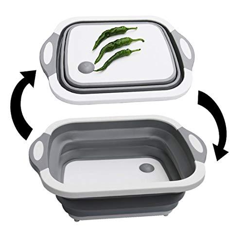 Mesa de cortar plegable multifuncional y cuenco de lavado, cesta de drenaje,...