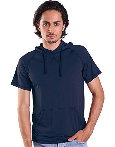 Men's Short Sleeve Hoodie T Shirt Summer Pullover Sweatshirt with Kangaroo Pocket Navy XXL