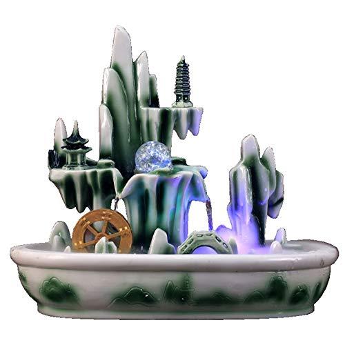 YYBFP Fuente Interior,Fuente Feliz De La Cascada De Piedra del JardíN, Fuente del Paisaje DecoracióN del Escritorio del Molino De Viento 45 * 28 * 39cm