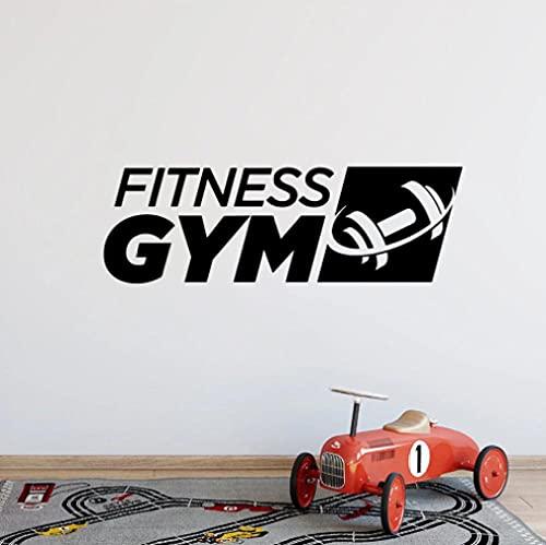 Fitness gimnasio Logo pared calcomanía deportes mancuernas vinilo decoración de interiores pegatina arte decoración Mural cartel de pared extraíble