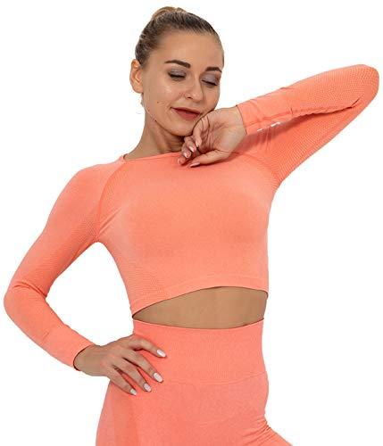 SLIMBELLE Camiseta Deportiva Mujer Yoga Top Sin Costuras Manga Larga Fitness Deporte Crop Top Long Sleeve Gym Camisa Chándal Corto Medias Compression Shirt Sportwear para Running Gimnasio Pilatess
